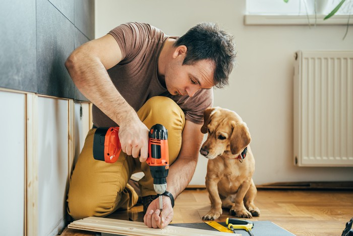 A man uses a screw gun while his puppy looks on.