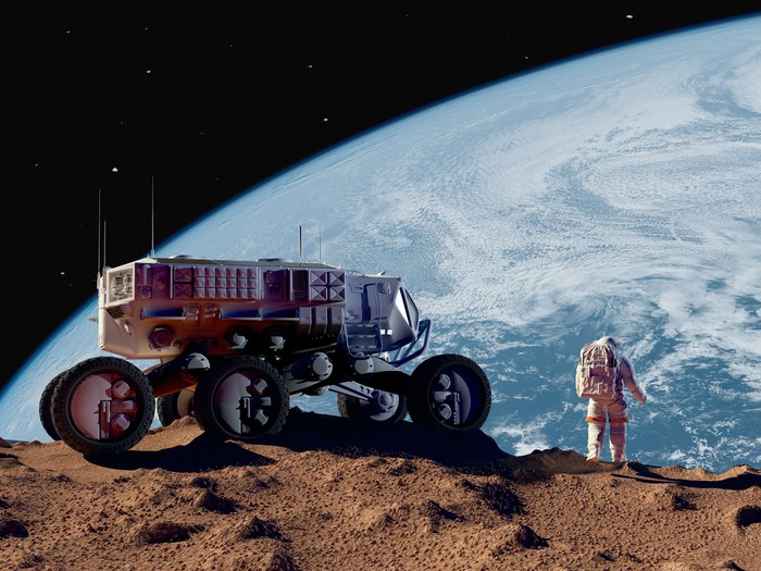 An astronaut and a moon rover on the moon, with the Earth in the background