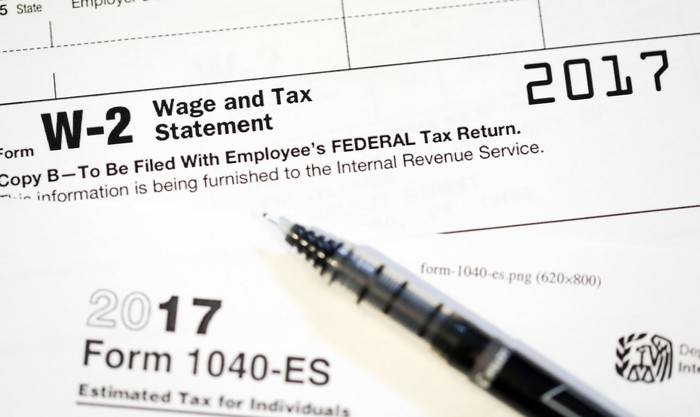 W-2 and 1040-ES tax forms.