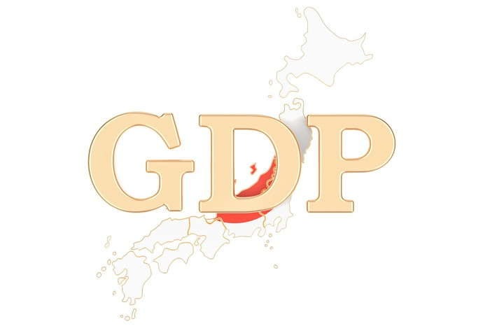 The letters GDP in gold, superimposed over an outline of Japan