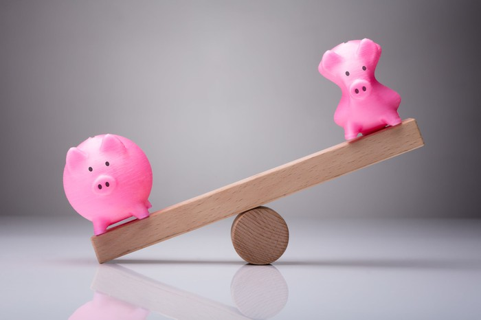 Two piggy banks on a see-saw -- the fat one low and the skinny one high