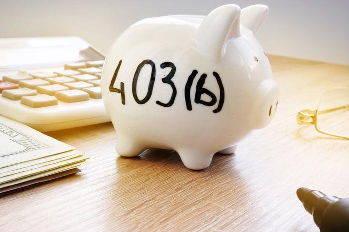 """A piggy bank labelled """"403(b)."""""""