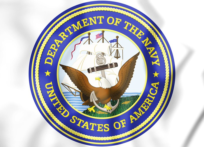 3D image of the seal of the U.S. Navy.
