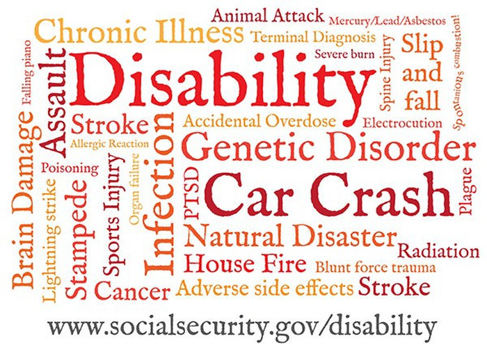 A word cloud of conditions that might cause disability
