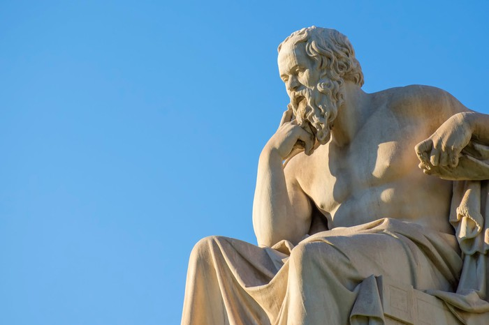 Statue of Socrates in front of the National Academy of Athens
