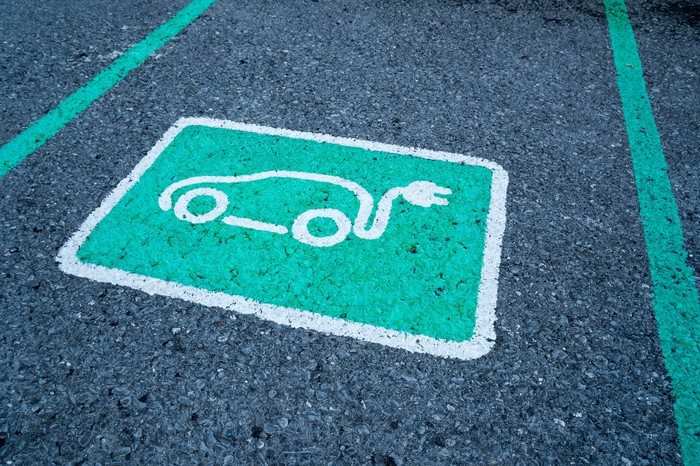 Electric car logo on parking space