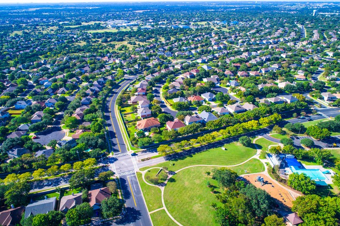 Aerial view of houses in a typical American neighborhood