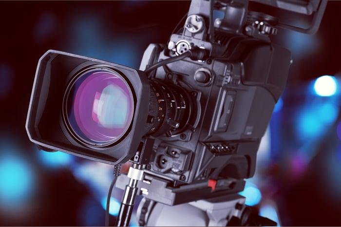 Close-up of television camera lens