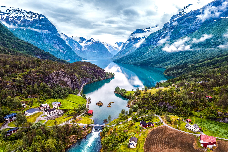 Farmsteads on a Norwegian fjord.