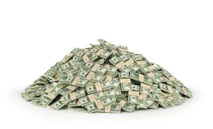 A large pile of cash in bundled bills.