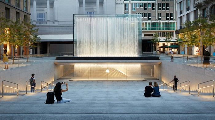 Exterior of Apple Store in Milan, Italy.