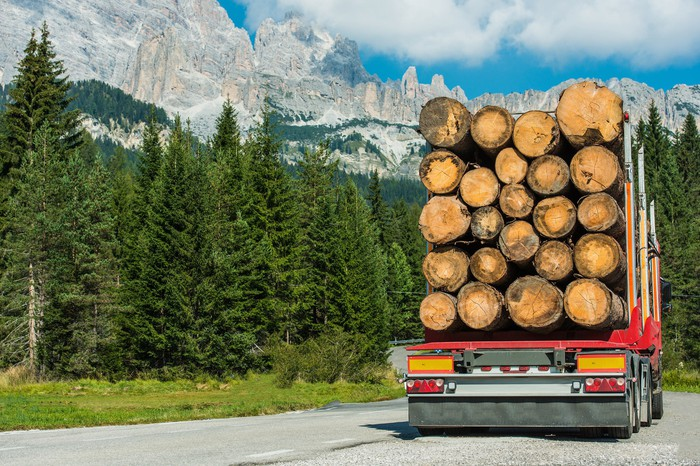Rear view of lumber truck driving down a road with trees and mountains in the background