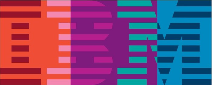 A multicolored version of the IBM logo