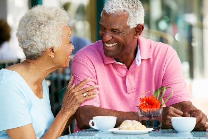 Elderly couple laughing while enjoying snack at cafe