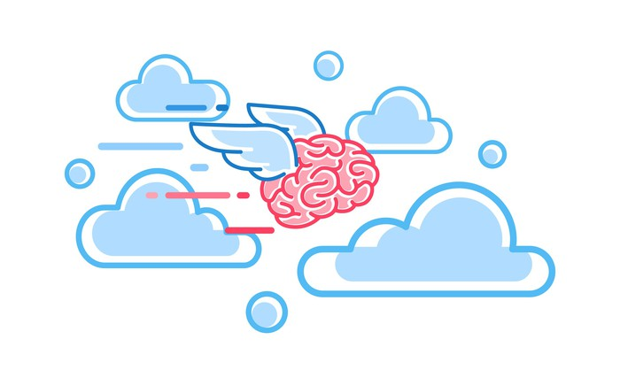 Flying brain drawing