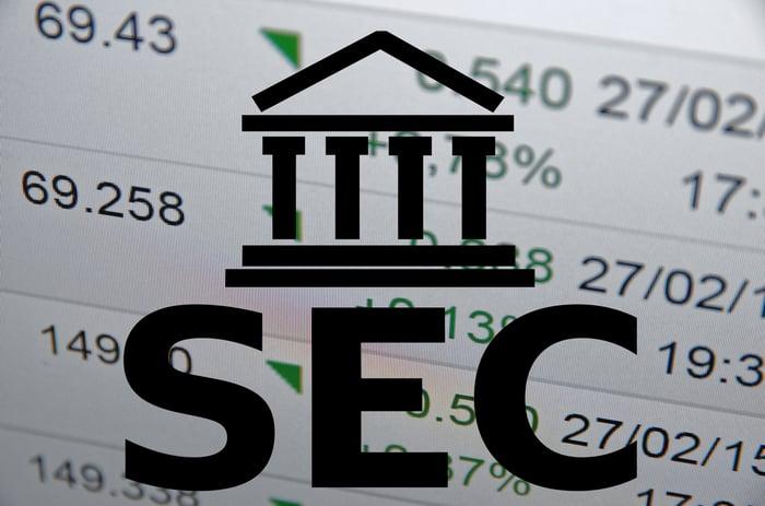 The SEC icon superimposed over a stock report.