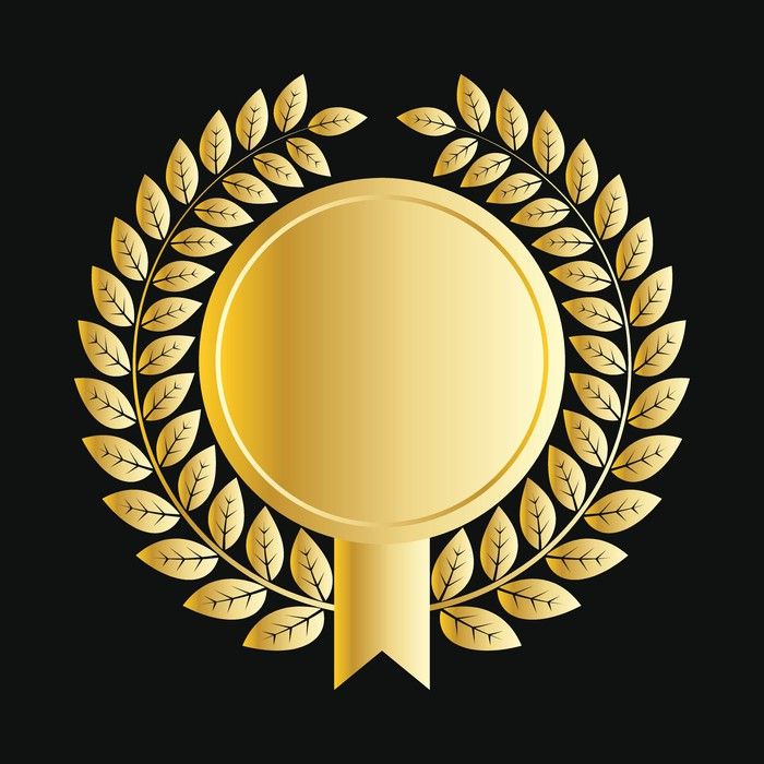 A gold medallion with laurels.