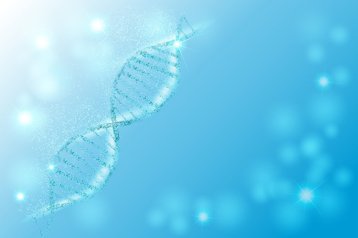 A section of DNA on a light blue background