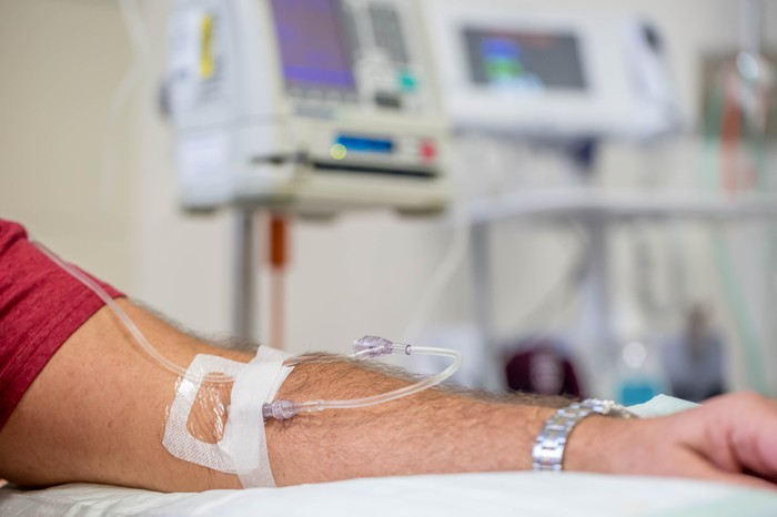 A person receiving a drug intravenously