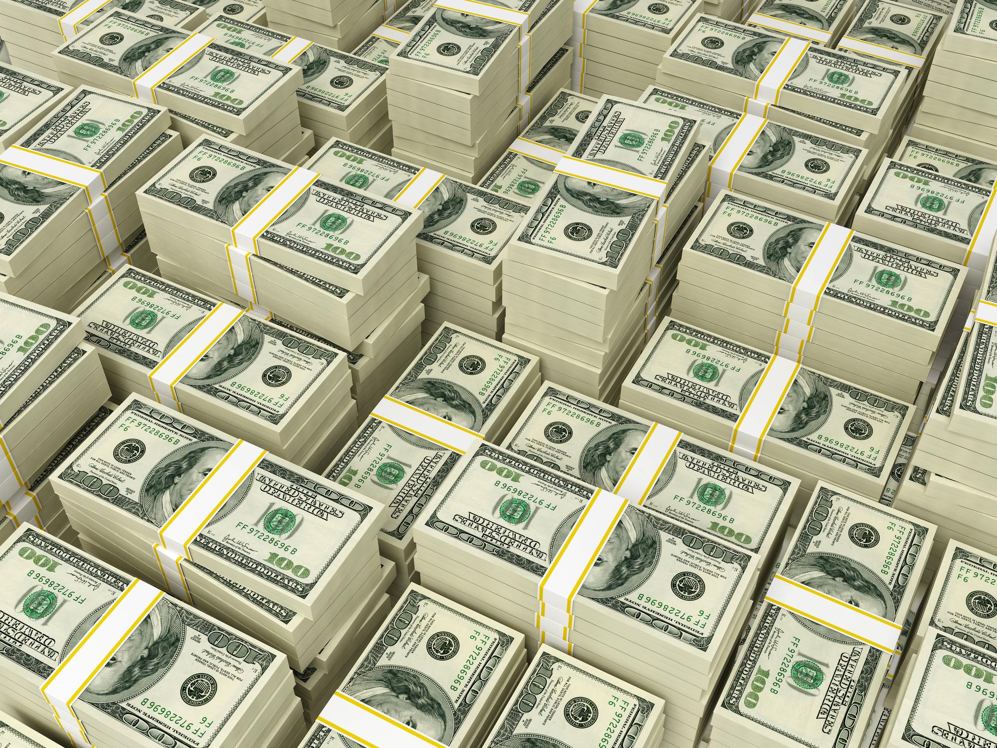 Stacks and stacks of $100 bills.