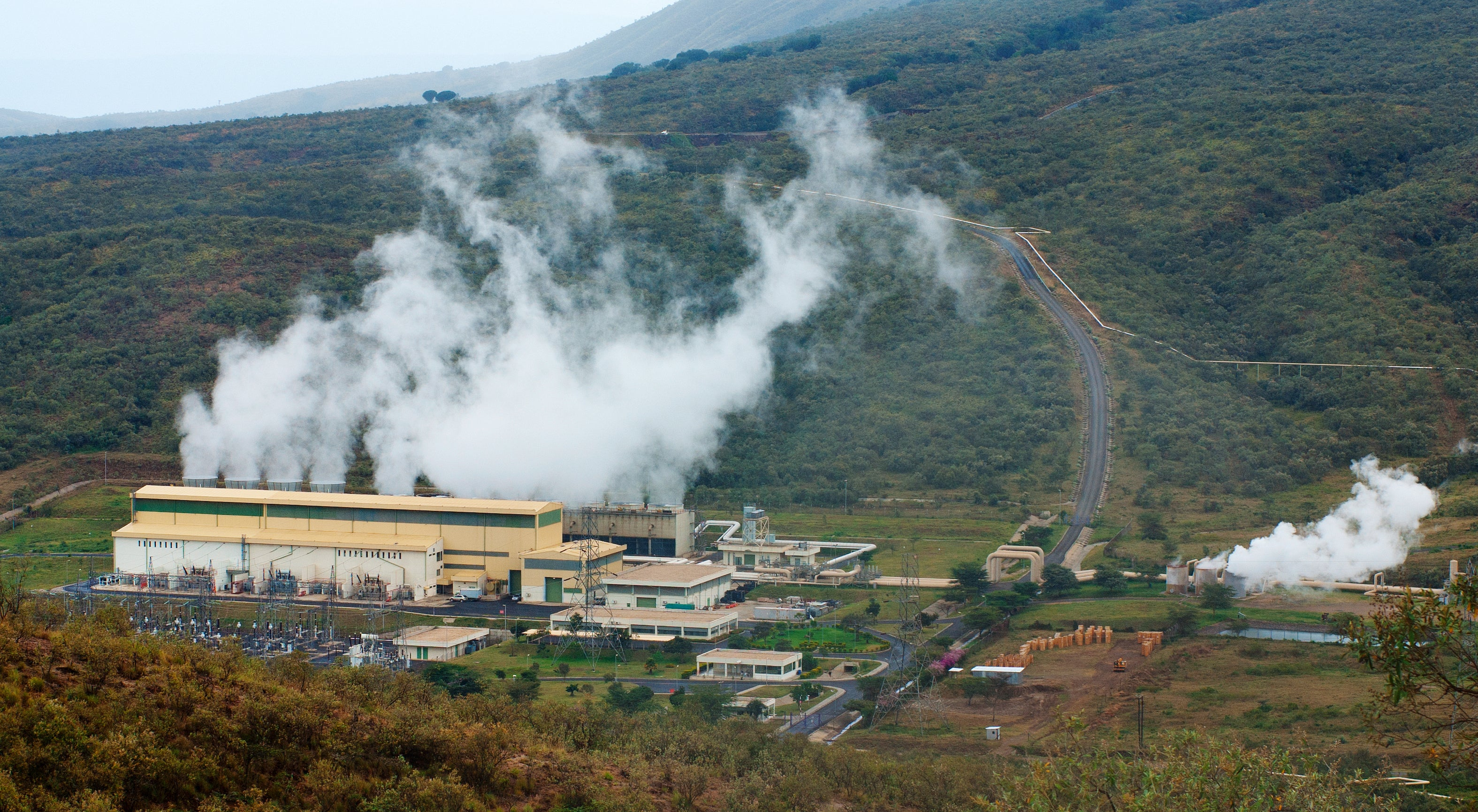Olkaria II geothermal power plant in Kenya.