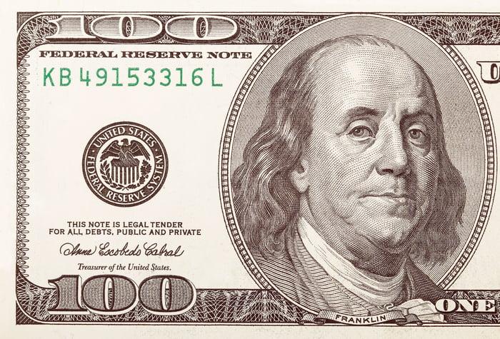 A one-hundred-dollar bill.