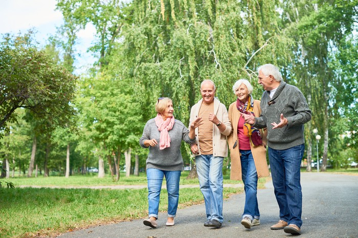 Two senior men and two senior women walking and talking in a park