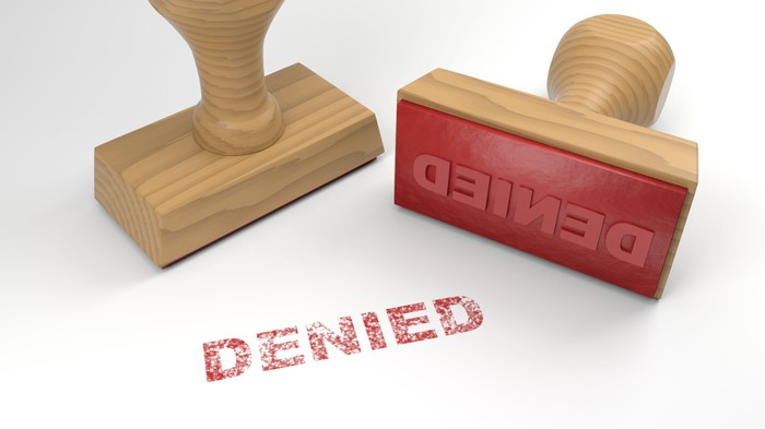 DENIED stamp in red ink