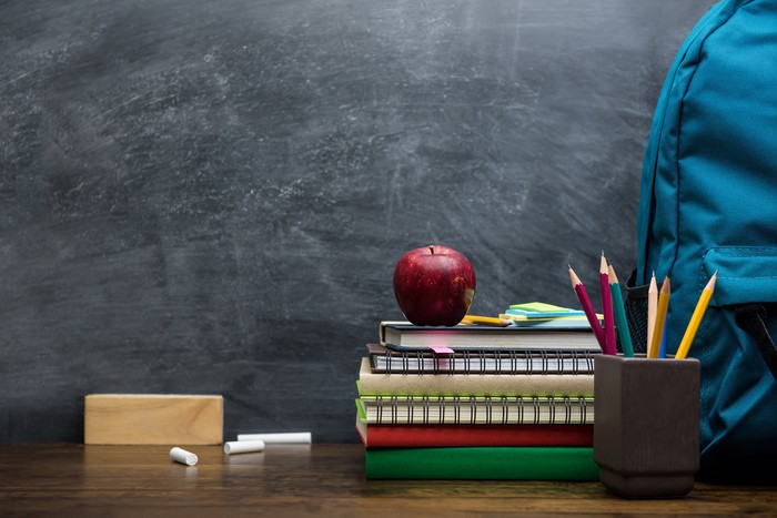 Blackboard, backpack, cup with pencils in it, pieces of chalk, and a stack of books with an apple on top