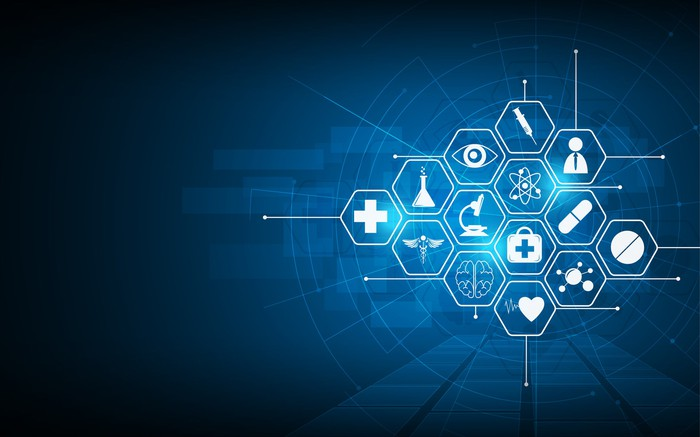 14 hexagonal shapes displaying various healthcare icons on a blue background