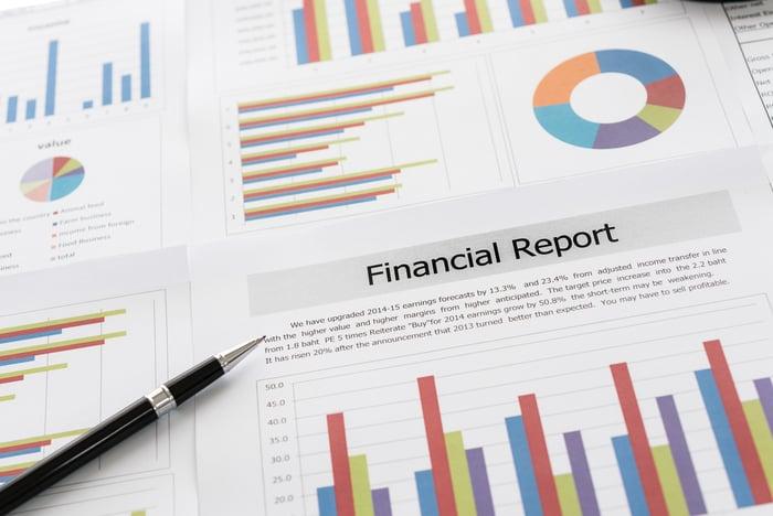 Financial reports litter a desktop.