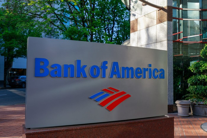 """A corporate sign outside of a building that reads """"Bank of America"""""""