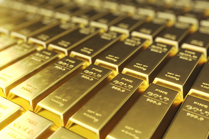 Rows of stamped gold bars