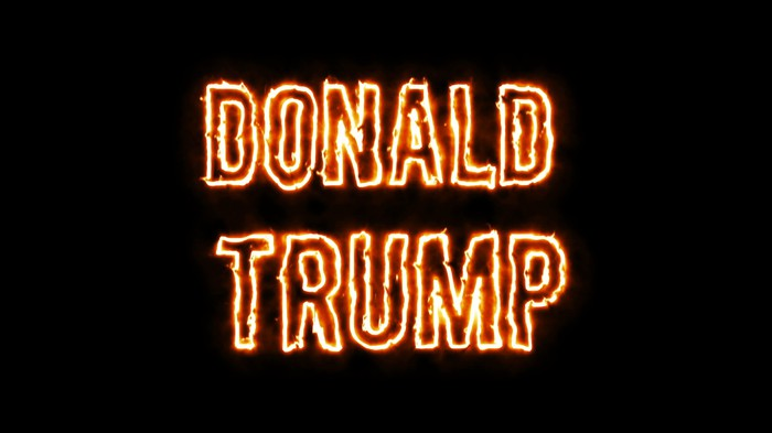 """The name """"Donald Trump"""" rendered as though the letters were on fire"""