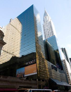 The Grand Hyatt Hotel in New York City, seen from street level