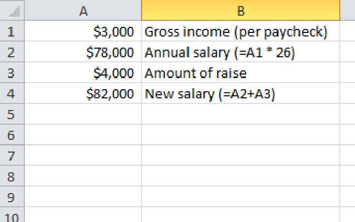 Using Excel to Calculate Your Annual Salary With Increases