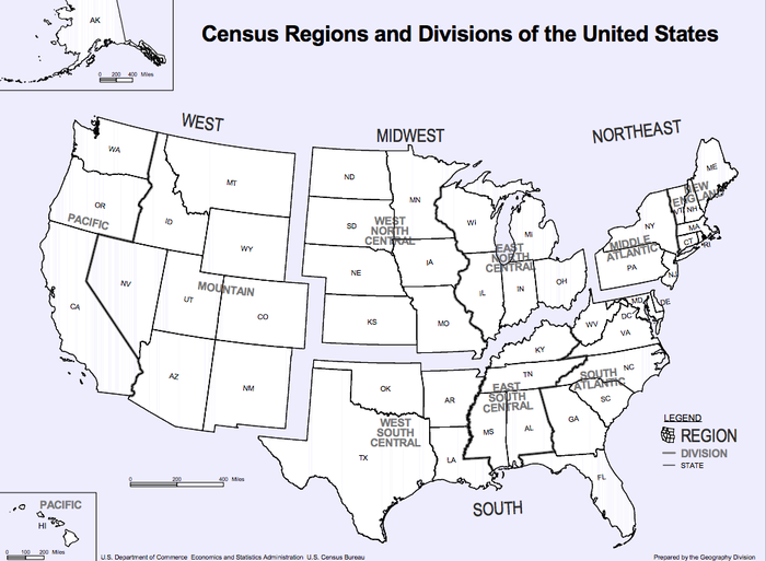 Heres The Average American Households Income By Region Of The - Us-census-map-regions