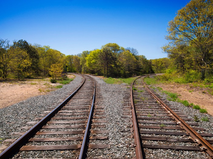 Two sets of side-by-side railroad tracks go separate ways.