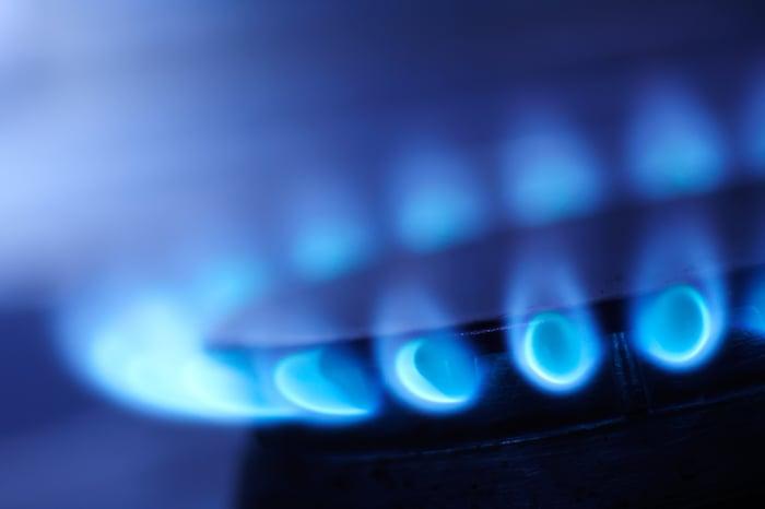 Close-up of a lit gas burner