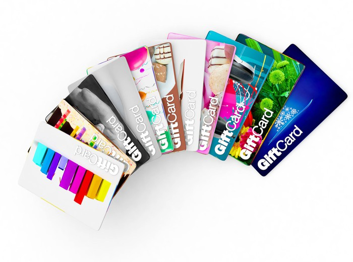 A variety of fanned-out gift cards