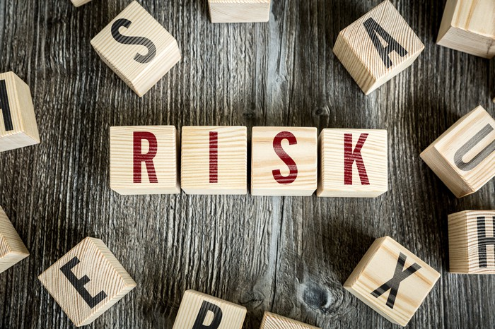 The word RISK written on four wooden blocks, with other blocks scattered around.
