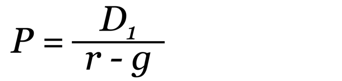 Formula for the Gordon Growth Model. P equals D1 divided by the difference between r and g.