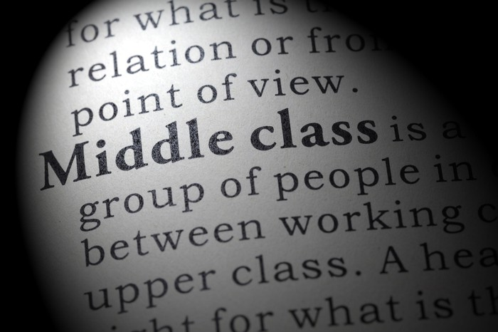 "Close-up of text defining ""middle class"""