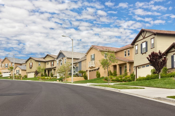 A row of suburban middle-class homes