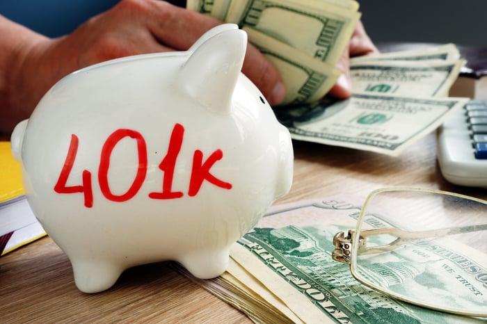 Piggybank with 401(k) on it
