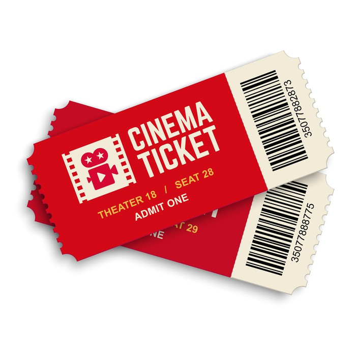A pair of red movie tickets on a white background.