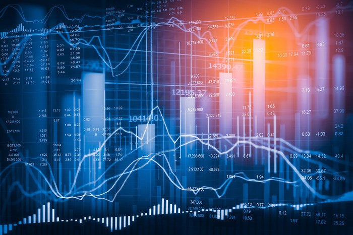 Bar graphs and stock charts in various shades of blue
