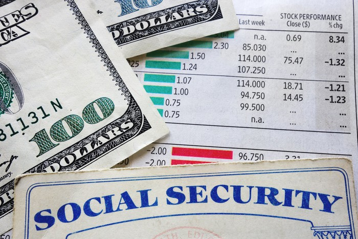 Social Security card and $100 bills laid over a portfolio performance statement