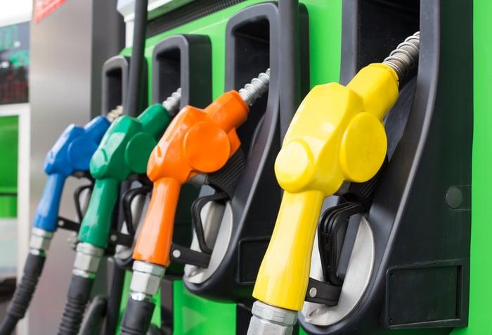Four gas pump handles