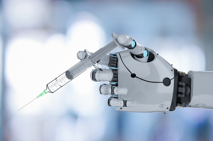 Robot with needle